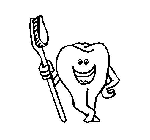 Desenho de Dentes e escova de dentes para Colorir