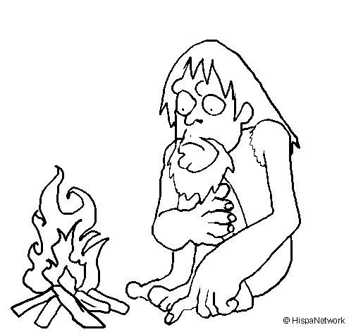 Desenho de Descoberta do fogo para Colorir