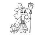 Desenho de Disfarce de bruxa do Halloween para colorear
