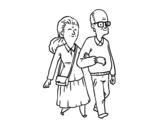 Desenho de Dos avós para colorear