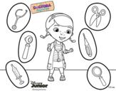 Desenho de Doutora Brinquedos e seus instrumentos para colorear