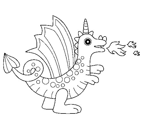 Desenho de Dragão alegre II para Colorir