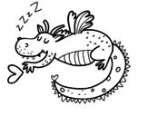 Desenho de Dragão infantil dormindo para colorear