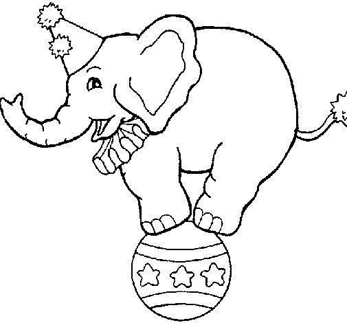 Desenho de Elefante em cima de uma bola para Colorir