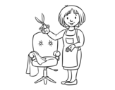 Desenho de Estilista cabeleireira para colorear