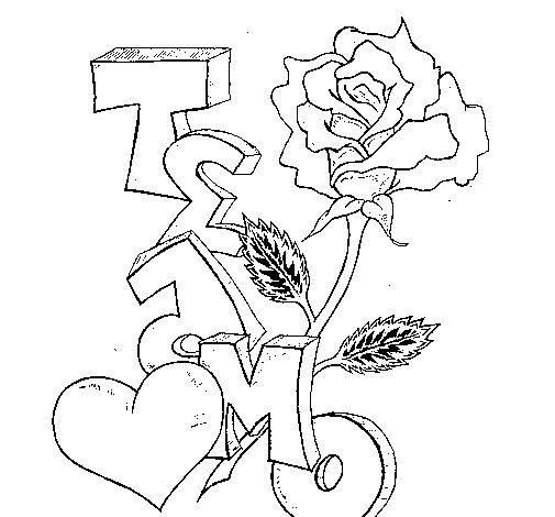 Desenho de Eu te amo II para Colorir