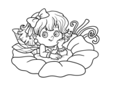 Dibujo de Fada em uma flor