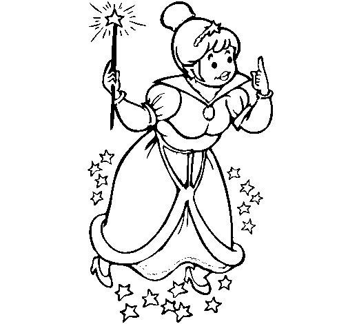 Desenho de Fada madrinha para Colorir