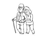 Desenho de Felizes os avós para colorear