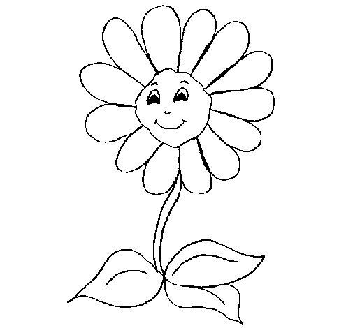 Desenho de Flor feliz para Colorir