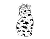 Desenho de gatinha presumida para colorear