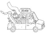 Desenho de Gatinho entregador para colorear