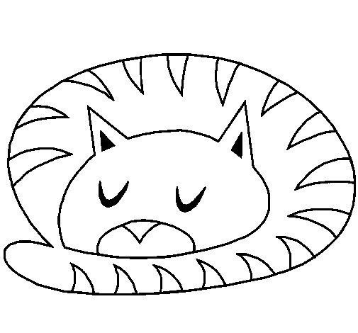 Desenho de Gato a dormir para Colorir