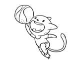 Desenho de Gato basquete para colorear
