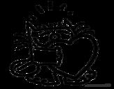 Desenho de Gato e coração para colorear
