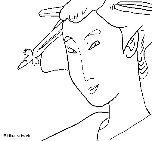 Desenho de Geisha para Colorir