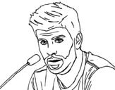 Desenho de Gerard Piqué em uma conferência de imprensa para colorear