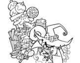 Desenho de Gretel ea bruxa para colorear