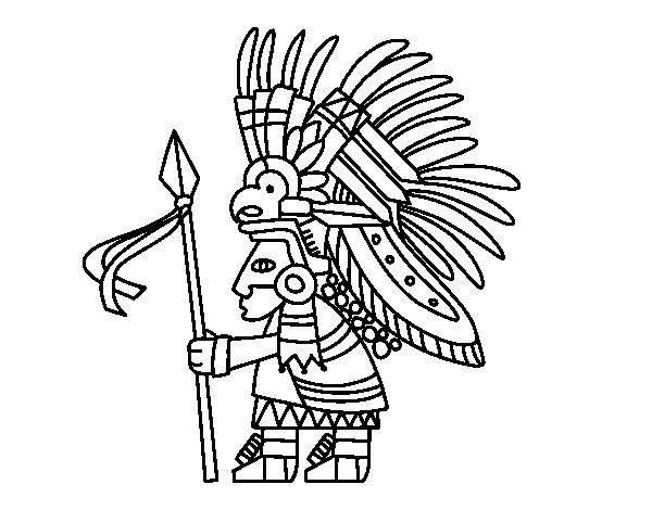 Desenho de Guerreiro asteca para Colorir