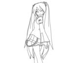Desenho de Hatsune Miku vocaloid para colorear