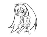 Desenho de Hatsune Vocaloid para colorear