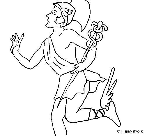Desenho de Hermes para Colorir