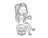 Desenho de Hora do chá para colorear
