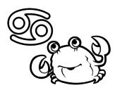 Desenho de Horóscopo Caranguejo para colorear