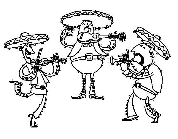 Desenho de I Mariachi para Colorir