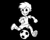 Desenho de Jogador de futebol com bola para colorear