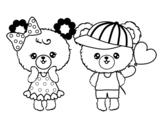 Desenho de Kawaii ursos para colorear