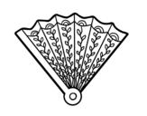 Desenho de Leque decorado para colorear