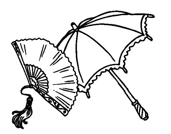 Desenho de Leque e guarda-chuva para Colorir