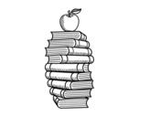 Desenho de Livros e maçã para colorear