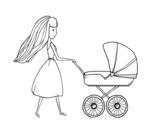 Desenho de  Mãe com carrinho de criança para colorear