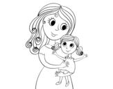 Desenho de Mãe com sua filha para colorear