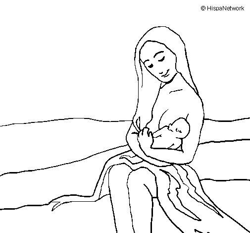 Desenho de Mãe e filho  para Colorir