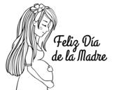 Desenho de Mamã grávida no Dia da Mãe para colorear