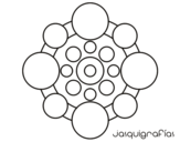Desenho de Mandala com rodadas para colorear