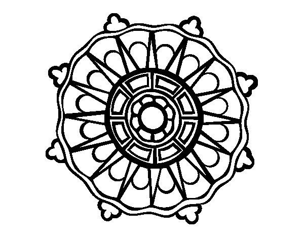 Desenho de Mandala com sol raios para Colorir