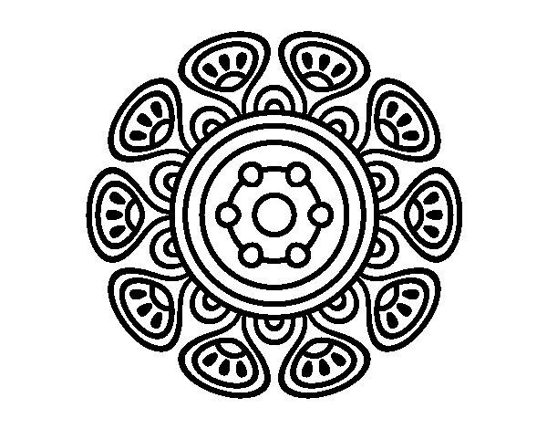Desenho de Mandala crescimento vegetal para Colorir
