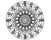 Desenho de Mandala flor com círculos para colorear