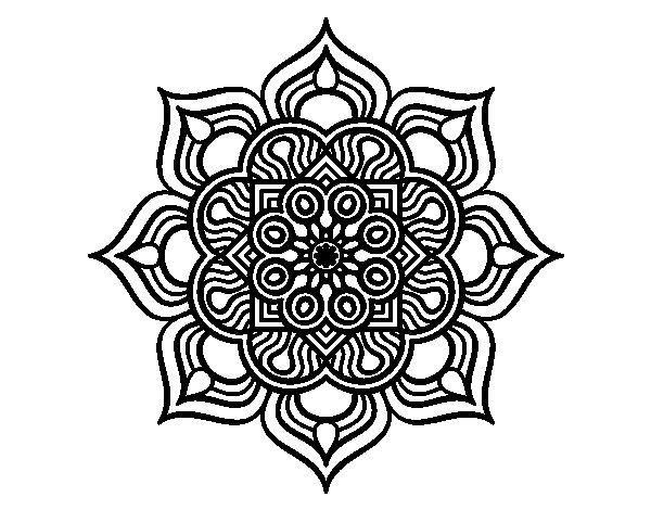 Desenho de Mandala flor de fogo para Colorir