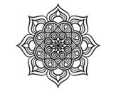 Desenho de Mandala flor de fogo para colorear