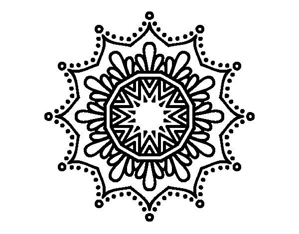 Desenho de Mandala flor de neve para Colorir