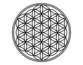 Desenho de Mandala flor de vida para colorear