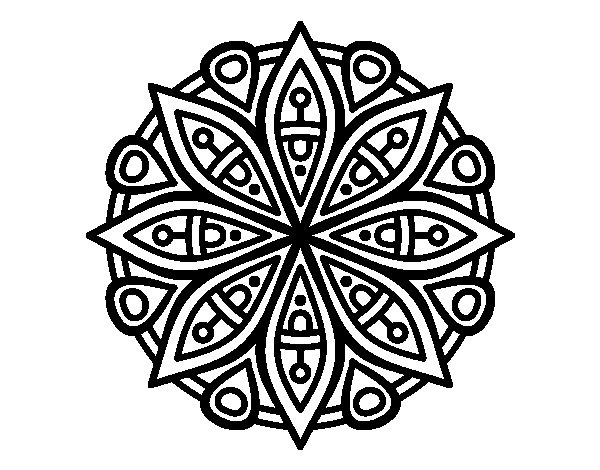 Desenho de Mandala para a concentração para Colorir