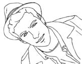 Desenho de Mario Casas com chapéu para colorear