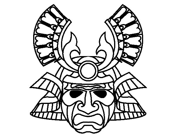 Desenho de Máscara  chinesa para Colorir