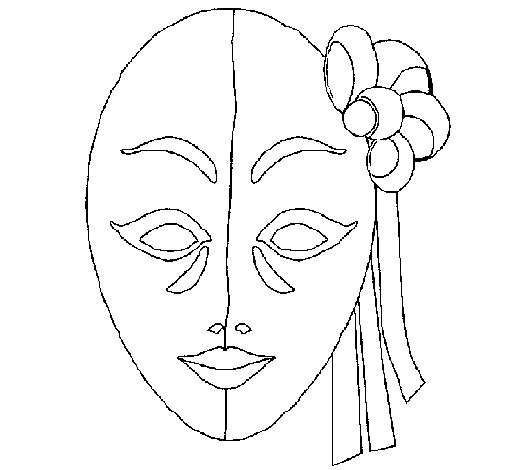 Desenho de Máscara italiana para Colorir